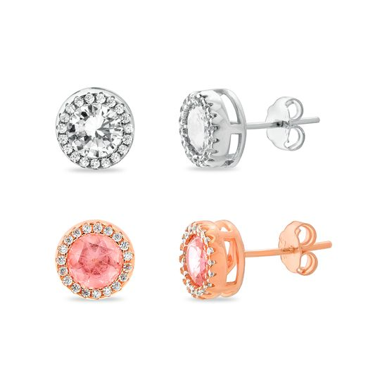 Imagen de Two-Tone Sterling Silver Cubic Zirconia Rose/Silver Clear/Simulated Morganite Round Halo Duo Post Earring Set