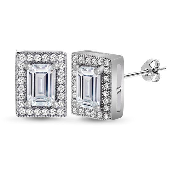 Imagen de Cubic Zirconia Rectangle Stud Earring in Sterling Silver