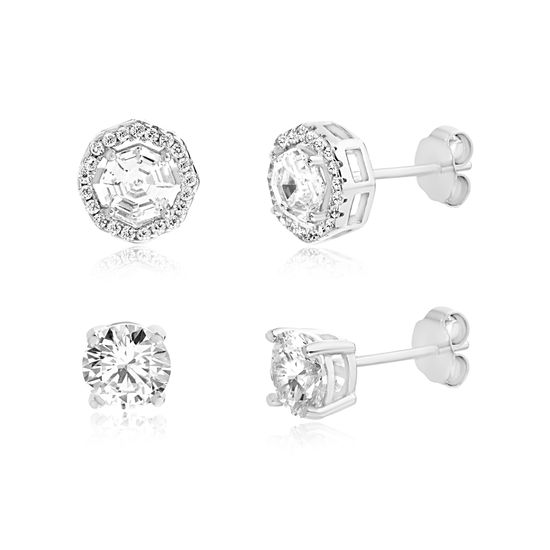 Picture of Cubic Zirconia Octagon & Stud Earring Set in Sterling Silver