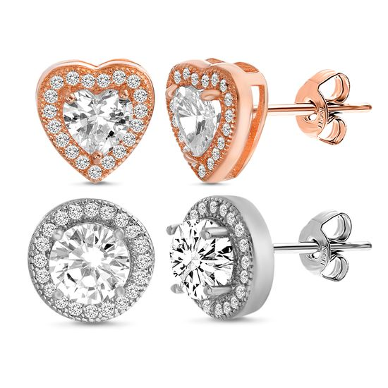 Imagen de Two-Tone Sterling Silver Cubic Zirconia Heart and Round Halo Duo Post Earring Set