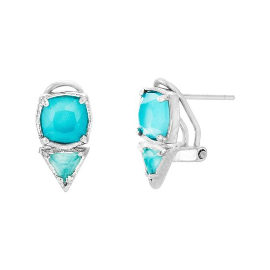 Imagen de Sterling Silver Triangle/Square Blue Topaz Glass Clip Post Earring