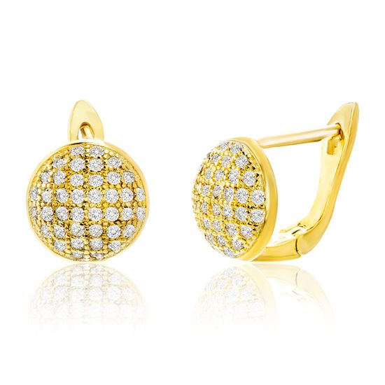 Imagen de Sterling Silver Pave Cubic Zirconia Disc Lever Back Earring