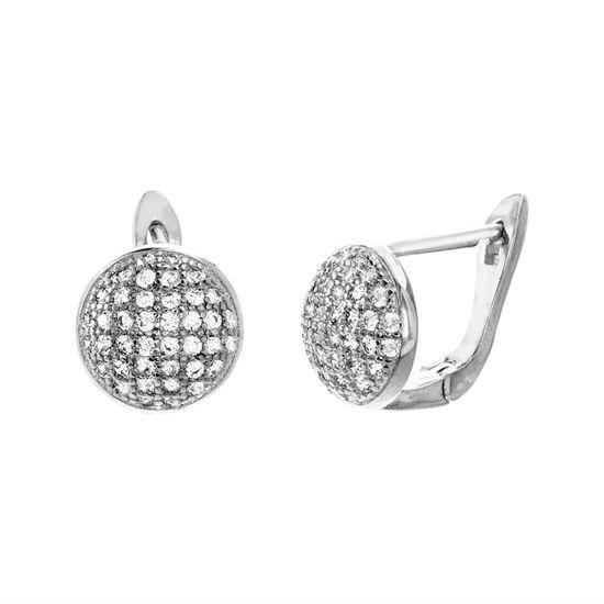 Imagen de Sterling Silver Pave Cubic Zirconia Disc Lever Back Earring
