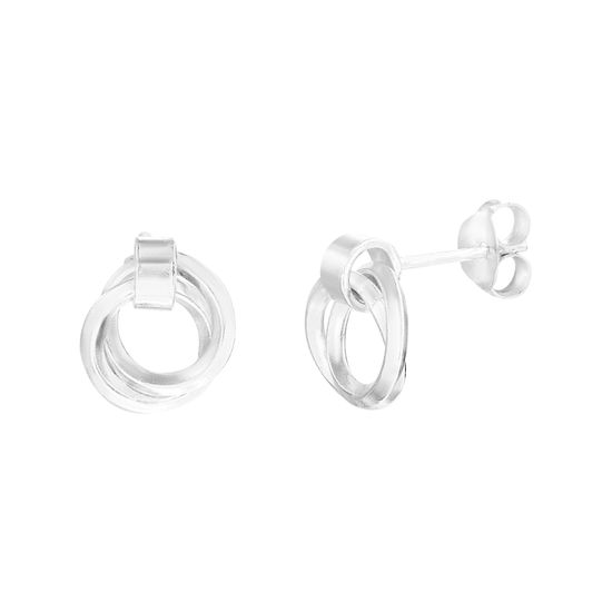 Imagen de E-Coat Sterling Silver Interlocking Circle Post Earring