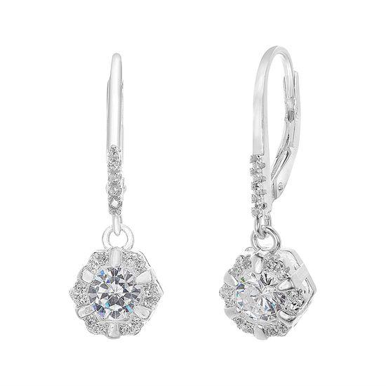 Imagen de Sterling Silver Dangling Cubic Zirconia Lever Back Earring