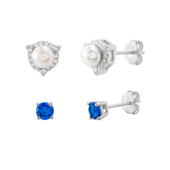Imagen de Sterling Silver 2pc Freshwater Pearl Cubic Zirconia Border Triangle/Blue Stud Post Earring Set