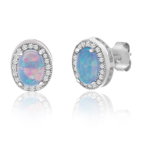Imagen de Sterling Silver Oval Blue Opal Halo Cubic Zirconia Border Post Earring