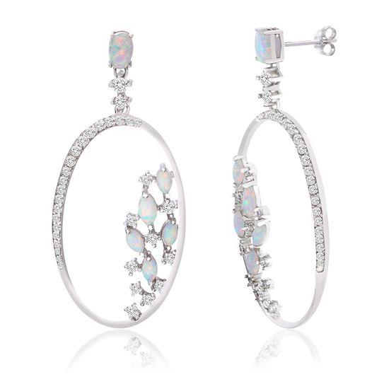 Imagen de Sterling Silver White Opal & Cubic Zirconia Open Oval Dangle Post Earring