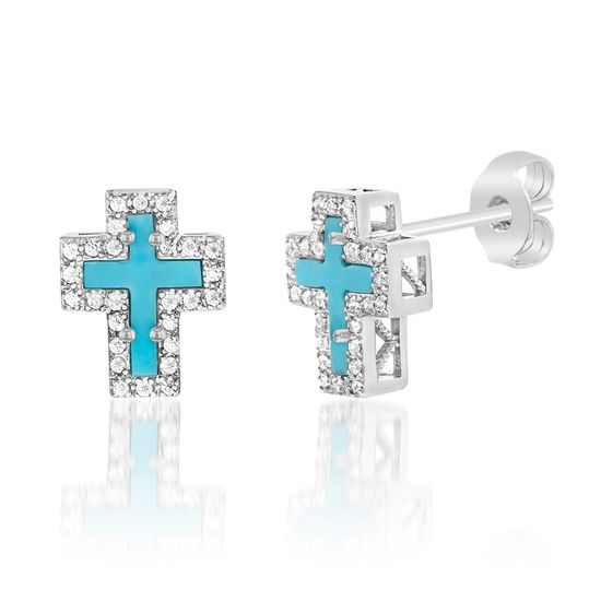 Imagen de Sterling Silver Turquoise Stone & Cubic Zirconia Border Cross Design Post Earring