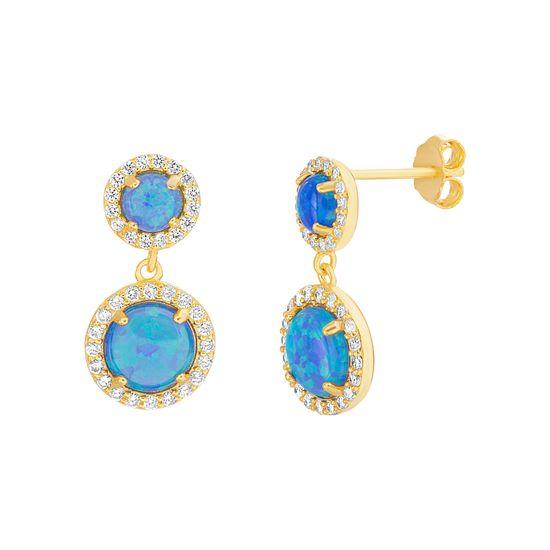 Imagen de Sterling Silver Blue Opal & Cubic Zirconia Border Post Earring