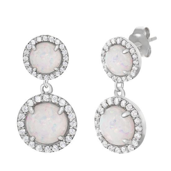 Imagen de Sterling Silver Opal Cubic Zirconia Border Post Earring