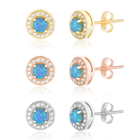 Imagen de Tri-Tone Sterling Silver Blue Opal / Cubic Zirconia Round Border Trio Post Earring Set