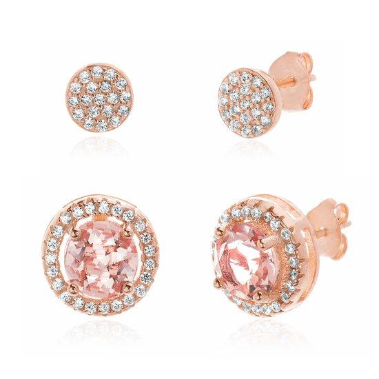 Imagen de Sterling Silver Simulated Morganite & Cubic Zirconia Pave Duo Stud Earring Set