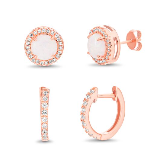 Imagen de Sterling Silver Simulated Morganite/Cubic Zirconia Border Circle/ Huggie Duo Earring  Set