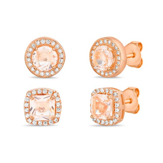 Picture of Sterling Silver Princess Cut/Round Simulated Morganite/Cubic Zirconia Duo Stud Earring Set