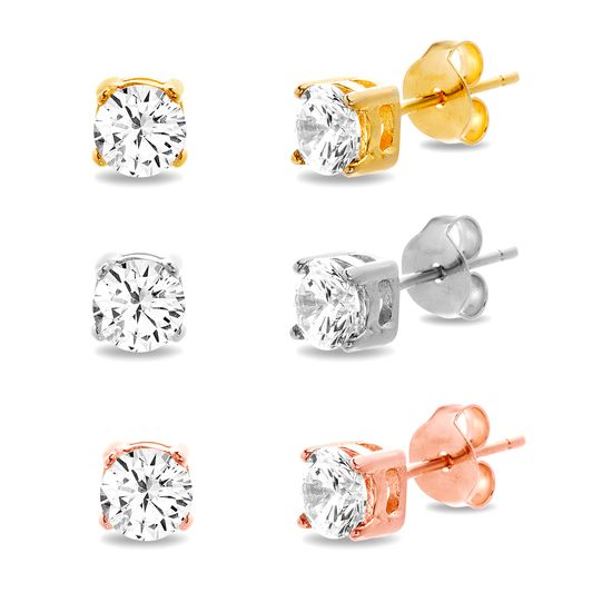 Imagen de Tri-Tone Sterling Silver Round Cubic Zirconia Stud Trio Post Earring Set