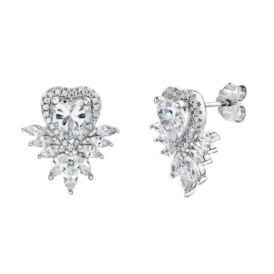 Imagen de Cubic Zirconia Heart Shaped Stud Earring in Sterling Silver