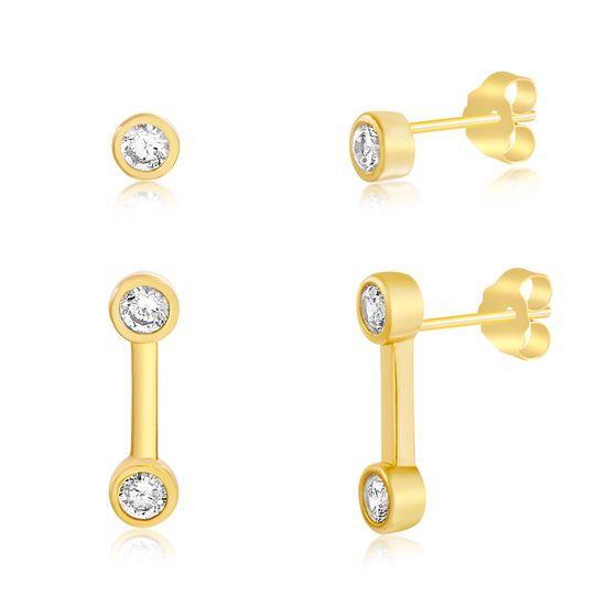 Imagen de Sterling Silver Cubic Zirconia Bezel Bar/Stud Duo Post Earring Set
