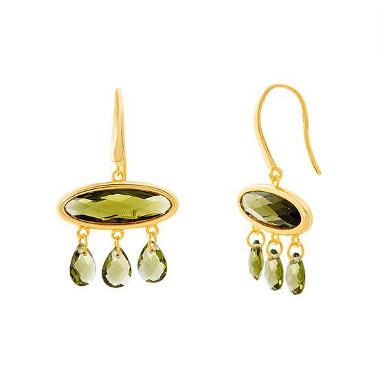 Imagen de Sterling Silver Oval Green Cubic Zirconia & Dangle Hook Earring