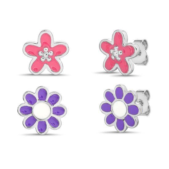 Imagen de Purple and Pink Flower Duo Earring Set in Sterling Silver