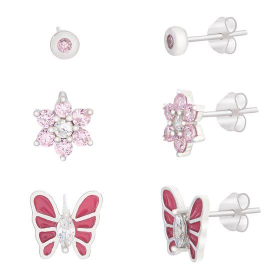 Imagen de Pink Butterfly/Flower/Bezel Trio Baby Earring Set in Sterling Silver