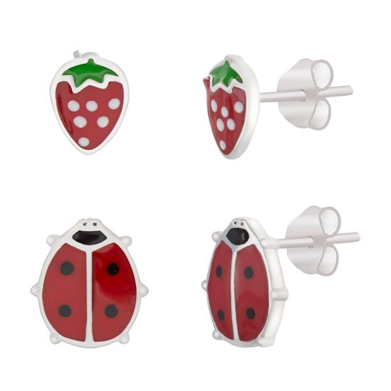 Imagen de Strawberry and Ladybug Duo Earring Set in Sterling Silver