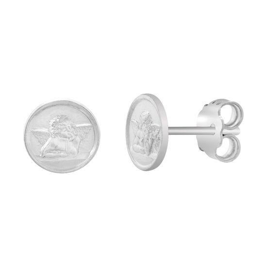 Imagen de Sterling Silver Nino Oval Disc Stud Post Earrings