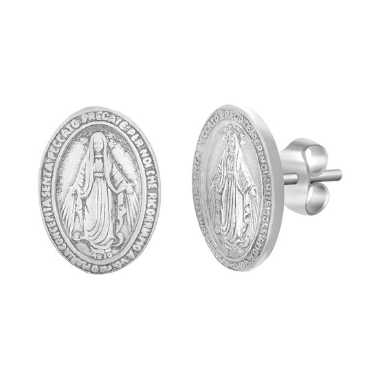 Imagen de Sterling Silver 13mm Virgin Mary Disc Stud Post Earrings