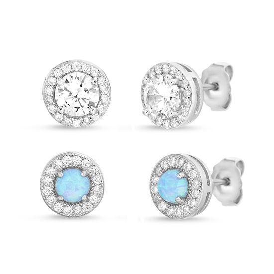 Imagen de Blue Opal & Genuine Cubic Zirconia Halo Duo Post Earring Set in Sterling Silver