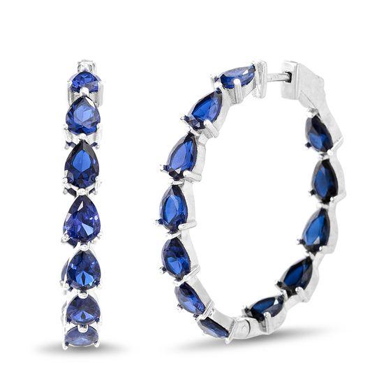 Imagen de Genuine Cubic Zirconia Blue Teardrop In & Out Earring in Sterling Silver