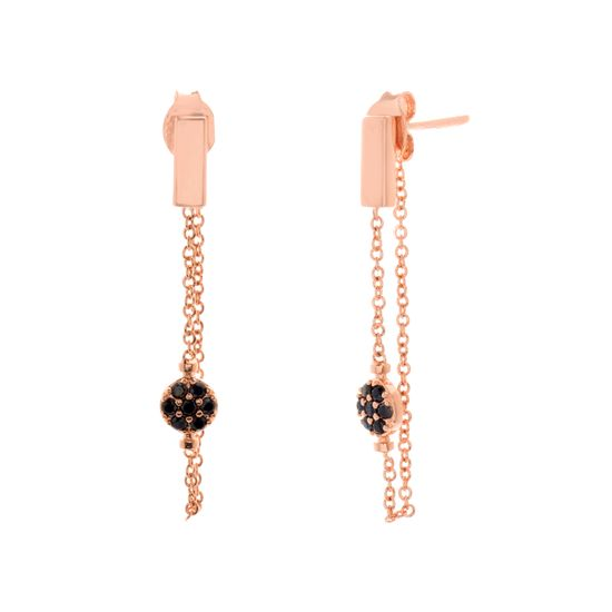 Imagen de Black & Genuine Cubic Zirconia Front to Back Earring in Rose Gold over Sterling Silver