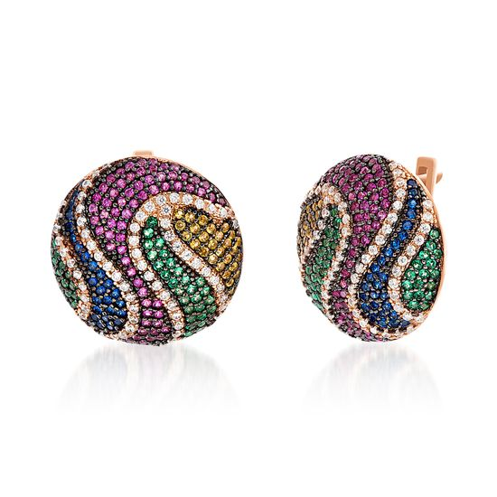 Picture of Multi-Color Cubic Zirconia Wavy Dome Omega Earring in Two-Tone Sterling Silver
