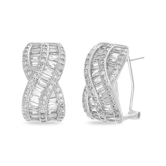 Imagen de Sterling Silver Round/Baguette Cubic Zirconia Crossover Post Clip Earring