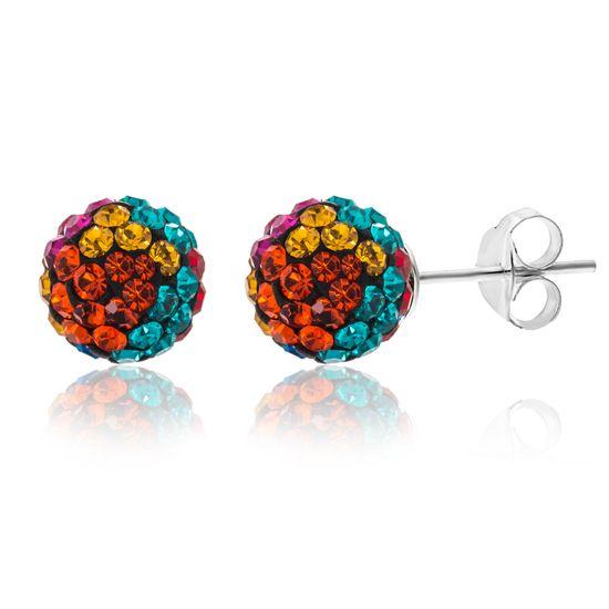 Imagen de Sterling Silver Ecoat Rainbow Cubic Zirconia Ball Earrings