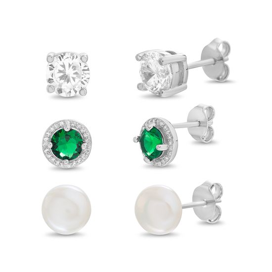 Picture of Stelring Silver Cubic Zirconia 3 Piece Pearl and 4 Prong Halo Ball/Crystal Stud Post Earring Set