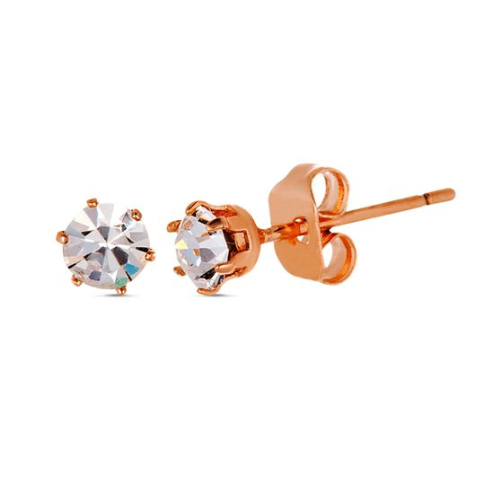 Imagen de Rose-Tone Brass 4mm Cubic Zirconia Post Earring