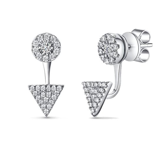 Picture of Silver-Tone Brass Pave Cubic Zirconia Circle/Triangle Front to Back Post Earring