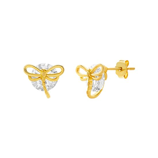 Imagen de Brass Crystal Dragonfly Post Earring