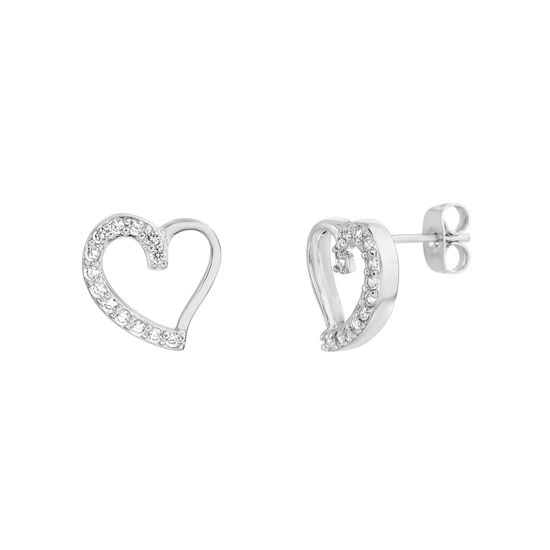 Imagen de Brass Cubic Zirconia Half Pave Half Polished Open Heart Post Earring
