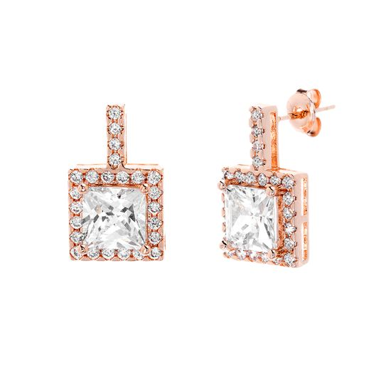 Picture of Sterling Silver Round Halo Cubic Zirconia Square Post Earring