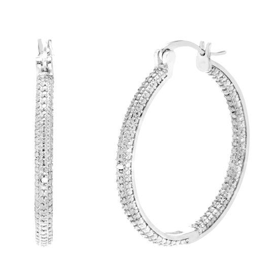 Imagen de Silver-Tone Brass Diamond Accent Hoop Earring