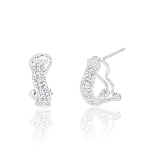 Imagen de Diamond Accent Huggie Hoop Earrings in Rhodium over Brass
