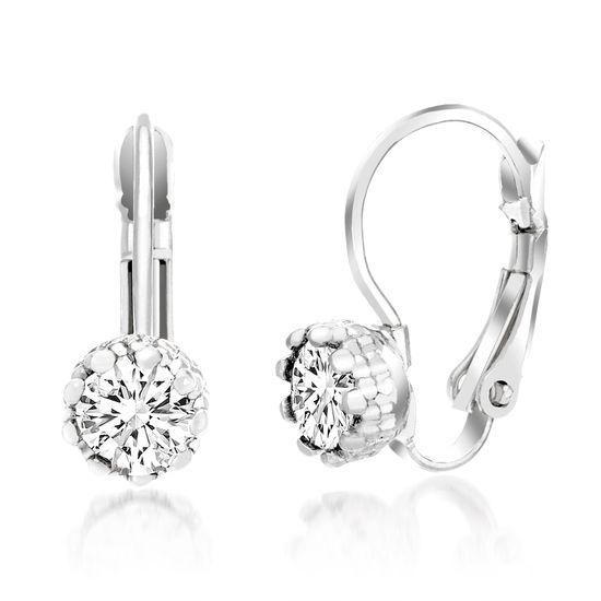 Imagen de Silver-Tone Brass Bezel Cubic Zirconia Lever Back Earring