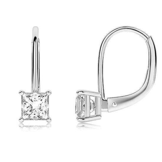 Imagen de Silver-Tone Brass Square Cubic Zirconia Leverback Earrings
