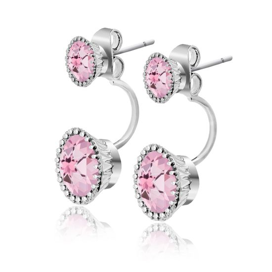 Imagen de Silver-Tone Brass Round Pink Glass Front to Back Earring
