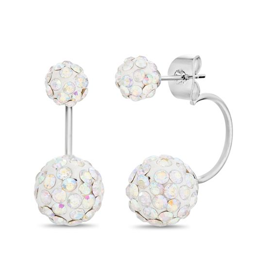 Imagen de Silver-Tone Brass Round Crystal Ball Front to Back Earring