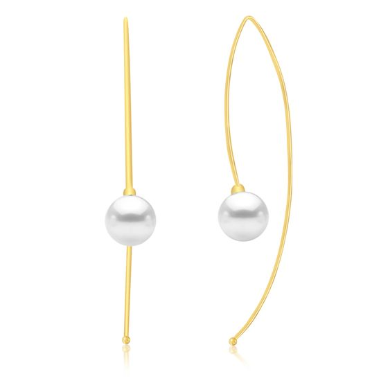 Picture of Gold-Tone Brass Freshwater Pearl End Long Threader Earring