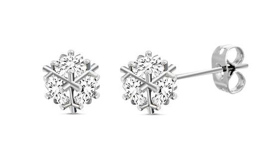 Imagen de Silver-Tone Brass Cubic Zirconia BALL Post Earring