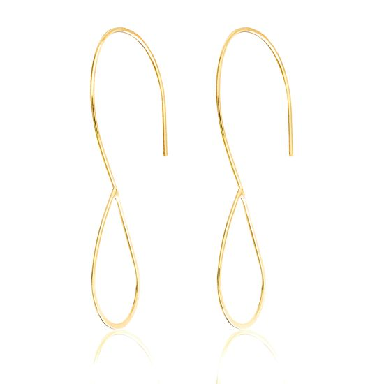 Imagen de Gold-Tone Brass Open Teardrop Threader Earring