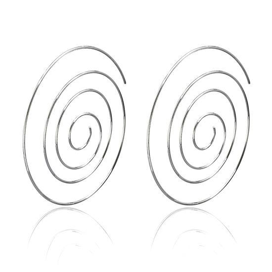 Imagen de Silver Tone Brass Polished Swirl Threader Earring